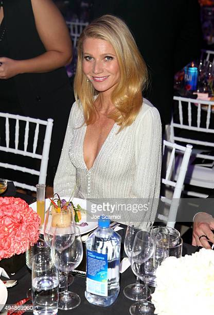 Actress Gwyneth Paltrow with FIJI Water At amfAR's Inspiration Gala Los Angeles at Milk Studios on October 29 2015 in Hollywood California