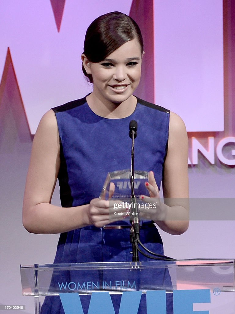 Actress Hailee Steinfeld accepts The 2013 Women In Film Max Mara Face of the Future Award onstage during Women In Film's 2013 Crystal + Lucy Awards at The Beverly Hilton Hotel on June 12, 2013 in Beverly Hills, California.