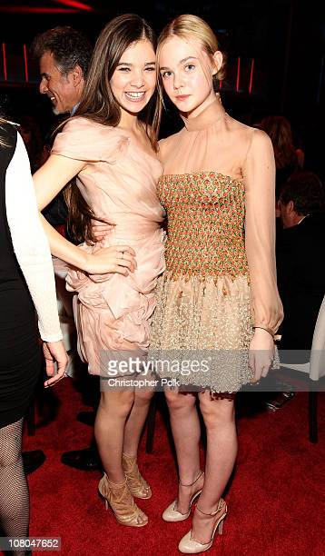 Actress Hailee Steinfeld and Actress Elle Fanning during the 16th annual Critics' Choice Movie Awards at the Hollywood Palladium on January 14 2011...