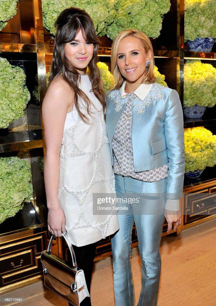 Actress <a gi-track='captionPersonalityLinkClicked' href=/galleries/search?phrase=Hailee+Steinfeld&family=editorial&specificpeople=7223409 ng-click='$event.stopPropagation()'>Hailee Steinfeld</a> and designer Tory Burch attend the Tory Burch Rodeo Drive Flagship Opening at Tory Burch on January 14, 2014 in Beverly Hills, California.