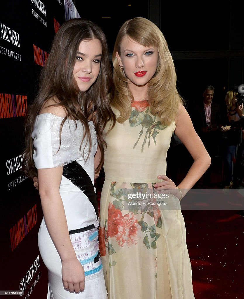 Actress Hailee Steinfeld and musician Taylor Swift arrive at the premiere of Relativity Media's 'Romeo & Juliet' at ArcLight Hollywood on September 24, 2013 in Hollywood, California.