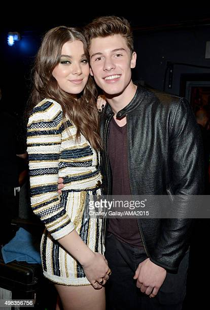 Actress Hailee Steinfeld and recording artist Shawn Mendes attend the 2015 American Music Awards at Microsoft Theater on November 22 2015 in Los...