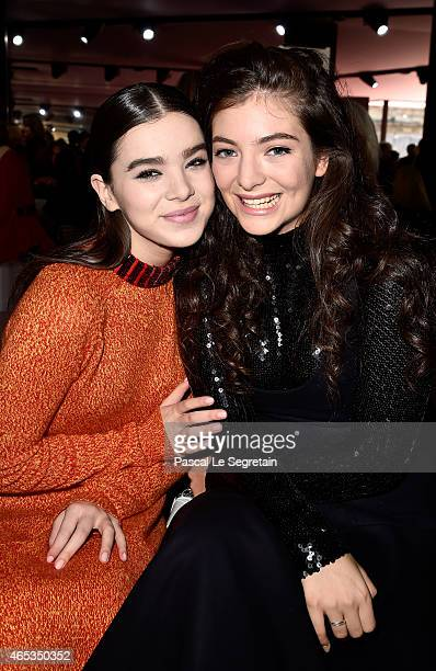 Actress Hailee Steinfeld and singer Lorde attend the Christian Dior show as part of the Paris Fashion Week Womenswear Fall/Winter 2015/2016 on March...