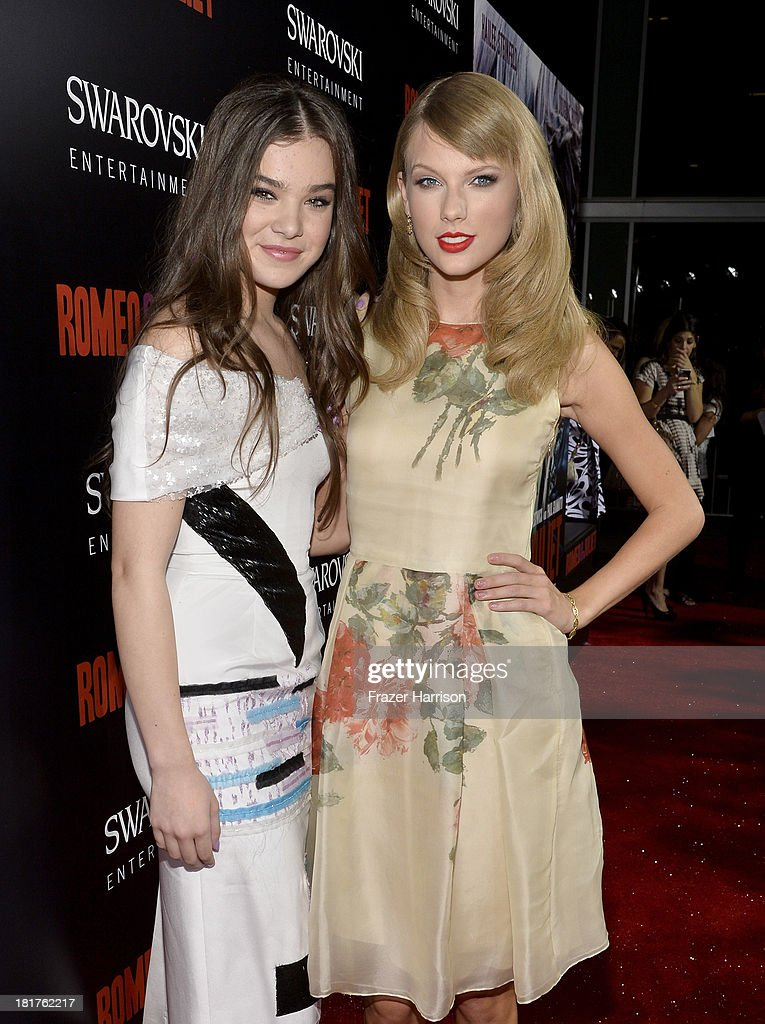 Actress Hailee Steinfeld (L) and singer Taylor Swift arrive at the premiere of Relativity Media's 'Romeo And Juliet' at ArcLight Cinemas on September 24, 2013 in Hollywood, California.