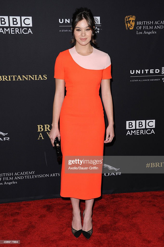 Actress Hailee Steinfeld arrives at the BAFTA Los Angeles Jaguar Britannia Awards at The Beverly Hilton Hotel on October 30, 2014 in Beverly Hills, California.