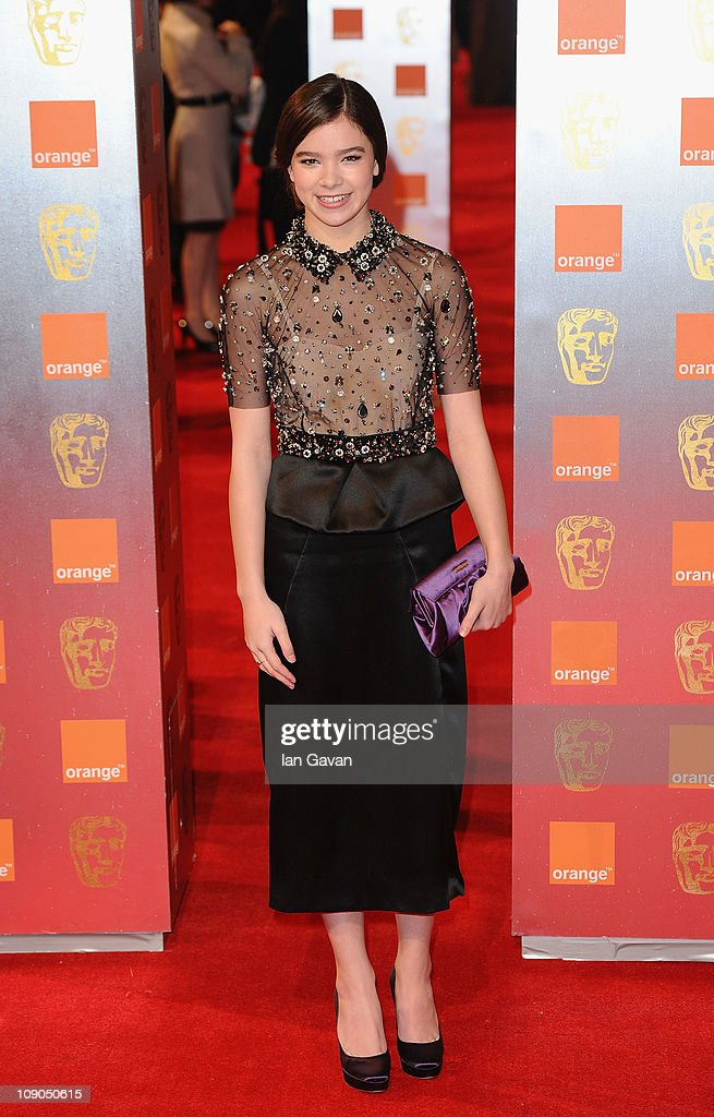 Actress <a gi-track='captionPersonalityLinkClicked' href=/galleries/search?phrase=Hailee+Steinfeld&family=editorial&specificpeople=7223409 ng-click='$event.stopPropagation()'>Hailee Steinfeld</a> arrives for the Orange British Academy Film Awards at The Royal Opera House on February 13, 2011 in London, England.