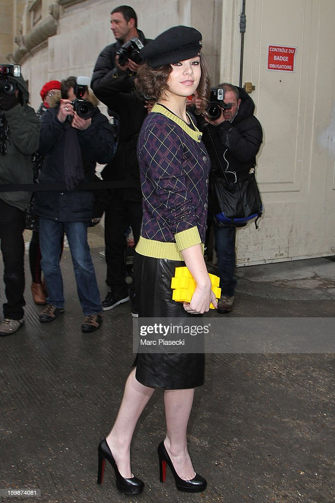 Actress Hailee Steinfeld arrives to attend the Chanel Spring/Summer 2013 Haute-Couture show as part of Paris Fashion Week at Grand Palais on January 22, 2013 in Paris, France.