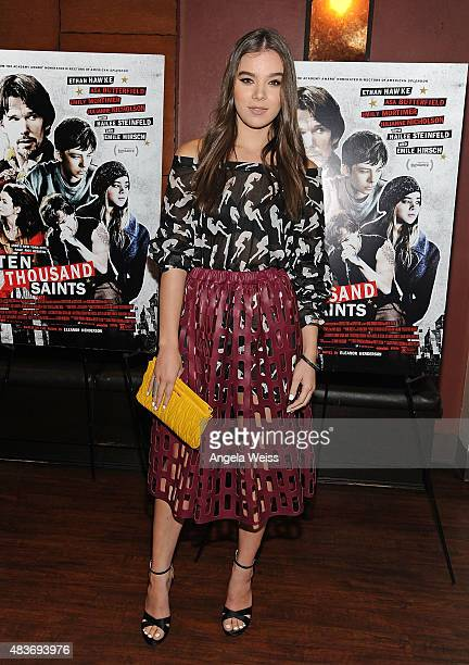 Actress Hailee Steinfeld attends a special screening of Archer Gray's 'Ten Thousand Saints' at Piknic on August 11 2015 in Century City California