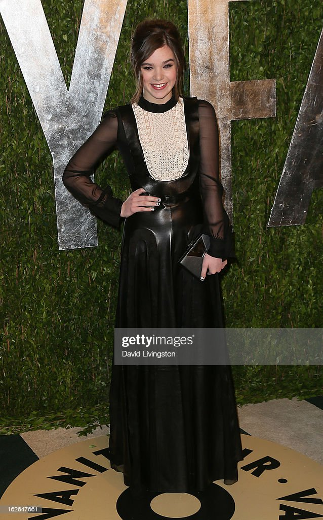 Actress Hailee Steinfeld attends the 2013 Vanity Fair Oscar Party at the Sunset Tower Hotel on February 24, 2013 in West Hollywood, California.