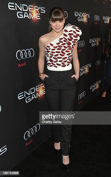 Actress Hailee Steinfeld attends the premiere of 'Ender's Game' presented by Audi at TCL Chinese Theatre on October 28 2013 in Hollywood California