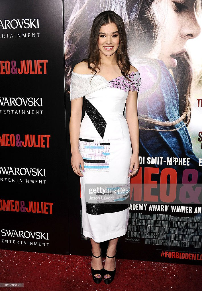 Actress <a gi-track='captionPersonalityLinkClicked' href=/galleries/search?phrase=Hailee+Steinfeld&family=editorial&specificpeople=7223409 ng-click='$event.stopPropagation()'>Hailee Steinfeld</a> attends the premiere of 'Romeo And Juliet' at ArcLight Hollywood on September 24, 2013 in Hollywood, California.