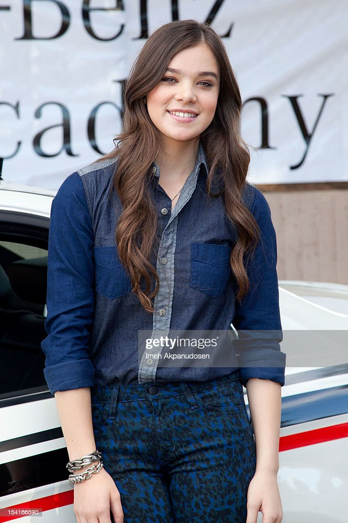 Actress Hailee Steinfeld, Mercedes-Benz Driving Academy Student & Safe Teen Safe Driving Advocate, participates in the kick-off of National Teen Driver Safety Week at Fairfax High School on October 15, 2012 in Los Angeles, California.