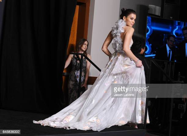 Actress Hailee Steinfeld poses in the press room at the 89th annual Academy Awards at Hollywood Highland Center on February 26 2017 in Hollywood...