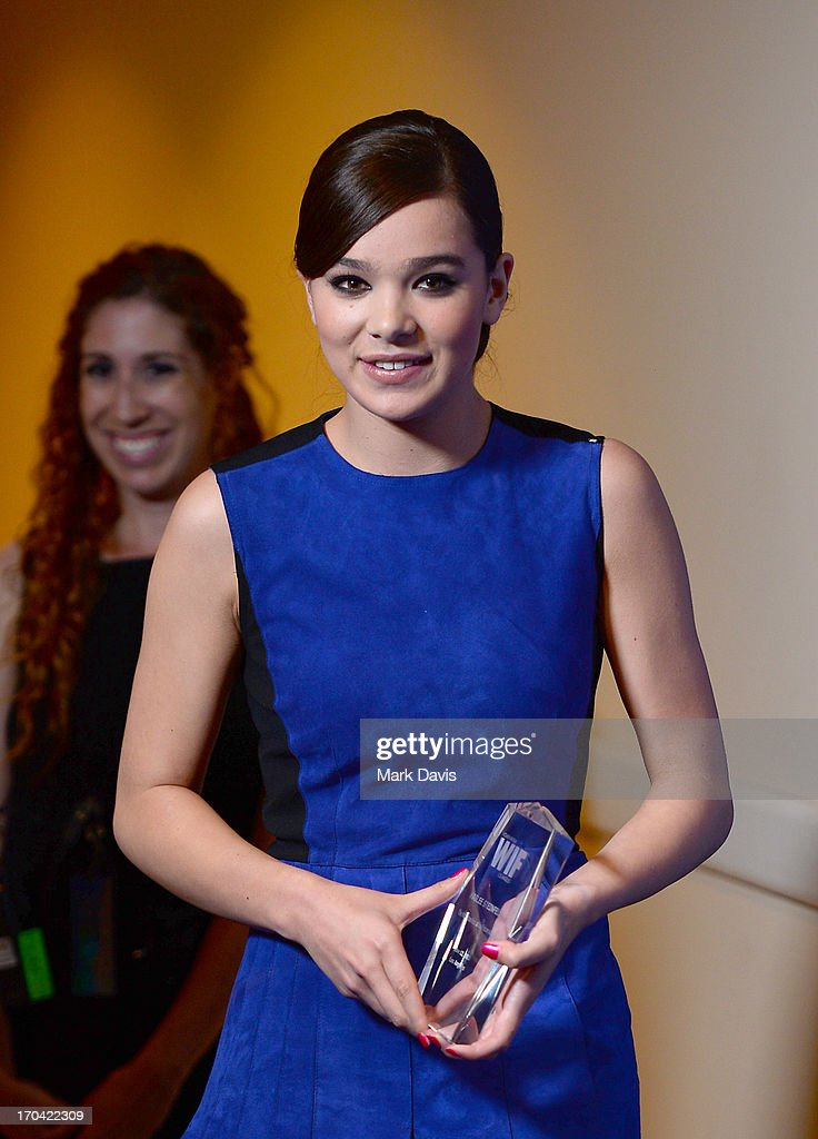Actress Hailee Steinfeld poses with the Max Mara Face of the Future Award backstage during Women In Film's 2013 Crystal + Lucy Awards at The Beverly Hilton Hotel on June 12, 2013 in Beverly Hills, California.