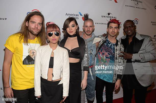 Actress Hailee Steinfeld singer Joe Jonas TV personality Randy Jackson and DNCE attend Universal Music Group 2016 Grammy After Party presented by...
