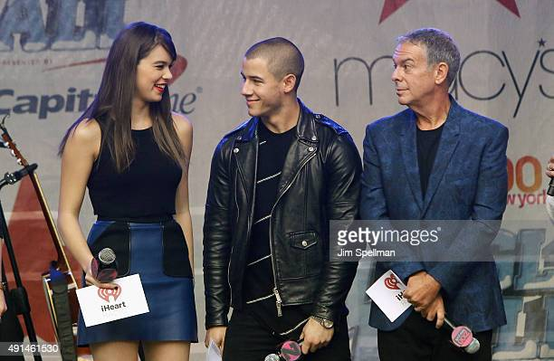 Actress Hailee Steinfeld singer Nick Jonas and radio personality Elvis Duran attend the Z100's Jingle Ball 2015 kick off event at Macy's Herald...
