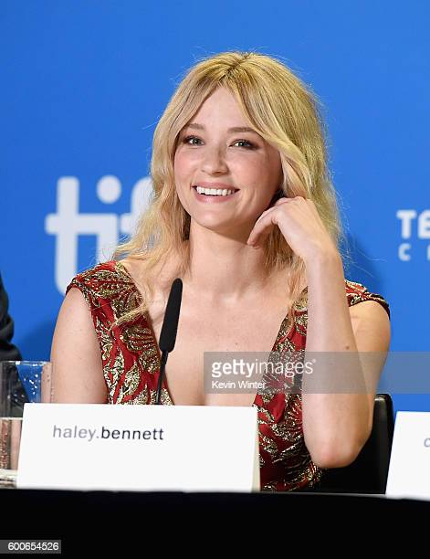 Actress Haley Bennett speaks at 'The Magnificent Seven' press conference during the 2016 Toronto International Film Festival at TIFF Bell Lightbox on...