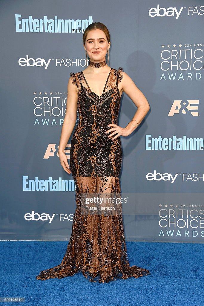 Actress Haley Lu Richardson attends The 22nd Annual Critics' Choice Awards at Barker Hangar on December 11, 2016 in Santa Monica, California.