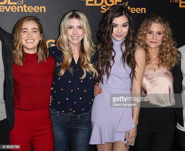 Actress Haley Lu Richardson director/screenwriter Kelly Fremon Craig and actresses Hailee Steinfeld and Kyra Sedgwick attend a photo call for STX...