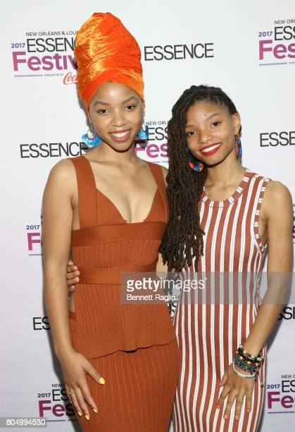Actress Halle and Chloe attend the 2017 Essence Festival Day 1 on June 30 2017 in New Orleans Louisiana