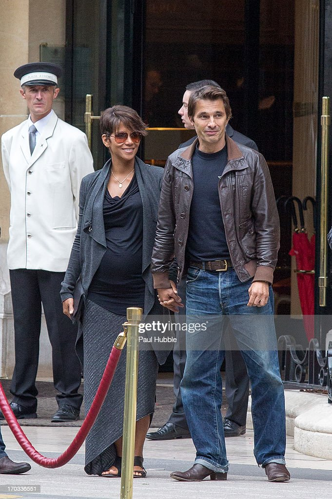 Actress Halle Berry and actor Olivier Martinez are seen leaving the 'Plaza Athenee' hotel on June 11, 2013 in Paris, France.