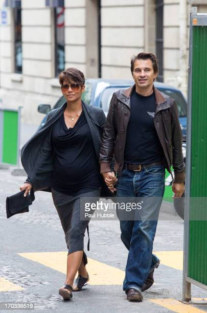 Actress Halle Berry and actor Olivier Martinez are seen on the 'Rue Clement Marot' on June 11 2013 in Paris France