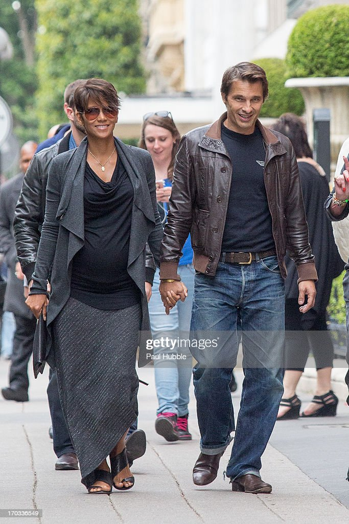 Actress Halle Berry and actor Olivier Martinez are seen strolling on the 'Avenue Montaigne' on June 11, 2013 in Paris, France.