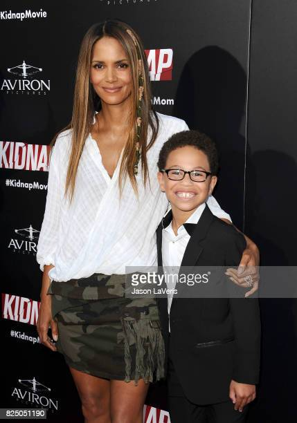 Actress Halle Berry and actor Sage Correa attend the premiere of 'Kidnap' at ArcLight Hollywood on July 31 2017 in Hollywood California
