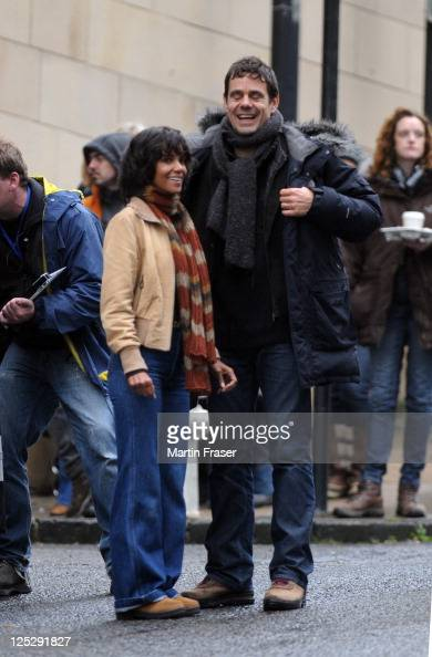 Actress Halle Berry and director Tom Twyker are pictured on the set of her new film 'Cloud Atlas' on September 16 2011 in Glasgow United Kingdom