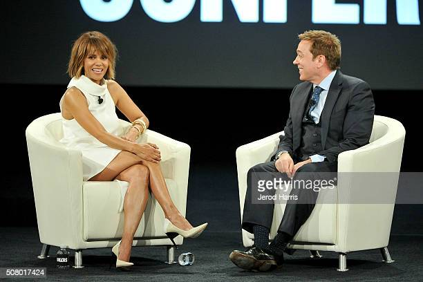Actress Halle Berry and Kevin Huvane attend AOL MAKERS Conference at Terranea Resort on February 2 2016 in Rancho Palos Verdes California