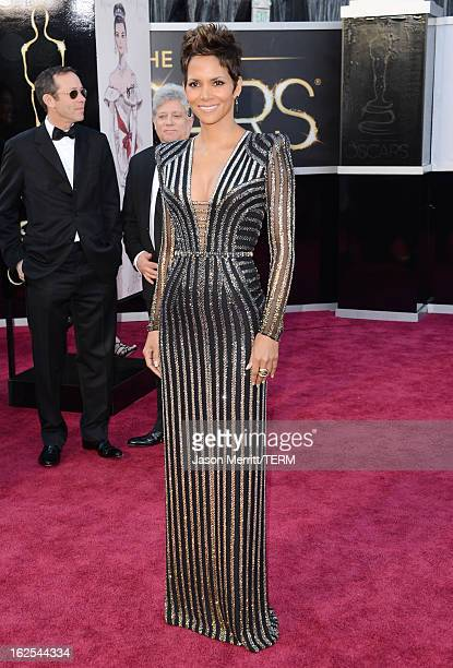 Actress Halle Berry arrives at the Oscars at Hollywood Highland Center on February 24 2013 in Hollywood California