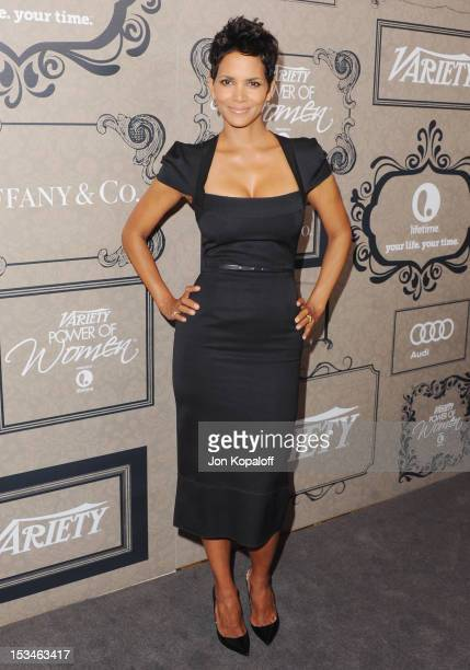 Actress Halle Berry arrives at the Variety's 4th Annual Power Of Women Event Presented By Lifetime at the Beverly Wilshire Four Seasons Hotel on...