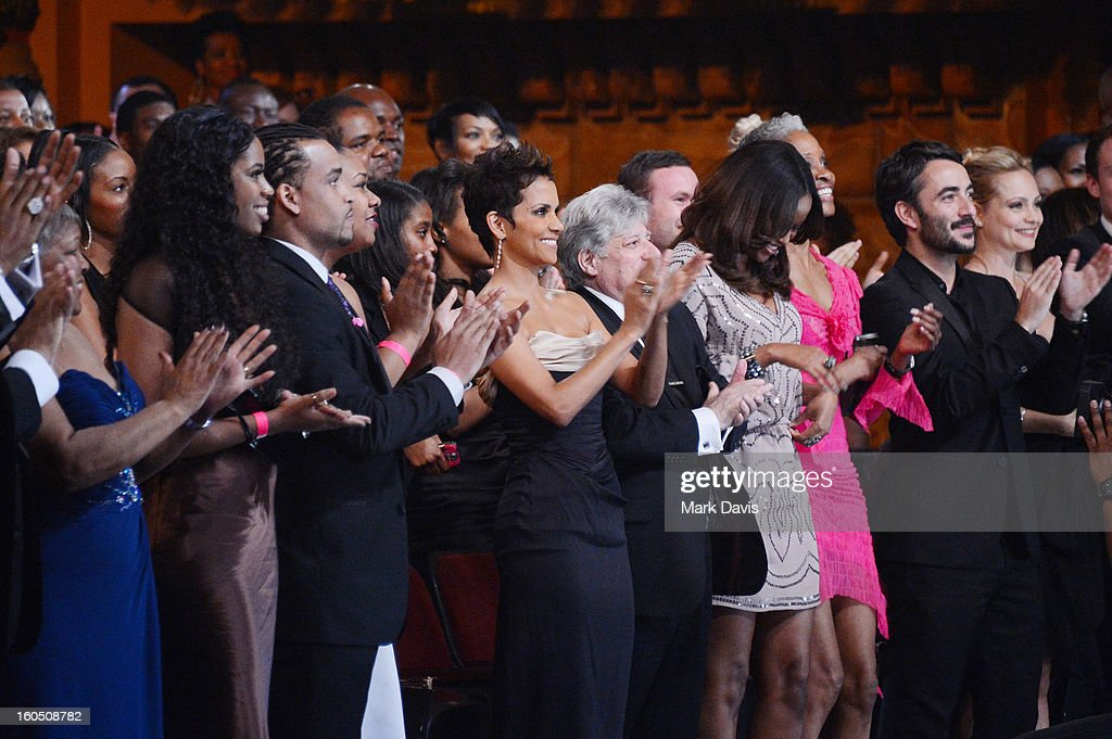 Actress Halle Berry (center) attends the 44th NAACP Image Awards at The Shrine Auditorium on February 1, 2013 in Los Angeles, California.