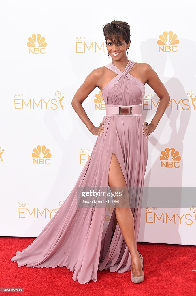 Actress Halle Berry poses in the press room during the 66th Annual Primetime Emmy Awards held at Nokia Theatre LA Live on August 25 2014 in Los...