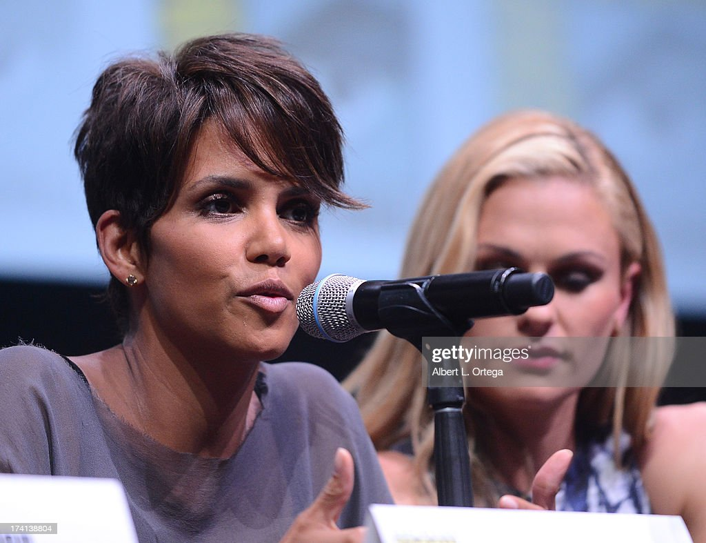 Actress <a gi-track='captionPersonalityLinkClicked' href=/galleries/search?phrase=Halle+Berry&family=editorial&specificpeople=201726 ng-click='$event.stopPropagation()'>Halle Berry</a> speaks at the 20th Century Fox panel during Comic-Con International 2013 at San Diego Convention Center on July 20, 2013 in San Diego, California.
