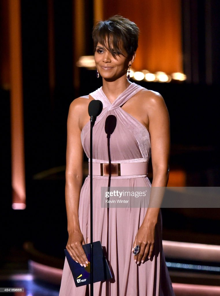 Actress <a gi-track='captionPersonalityLinkClicked' href=/galleries/search?phrase=Halle+Berry&family=editorial&specificpeople=201726 ng-click='$event.stopPropagation()'>Halle Berry</a> speaks onstage at the 66th Annual Primetime Emmy Awards held at Nokia Theatre L.A. Live on August 25, 2014 in Los Angeles, California.