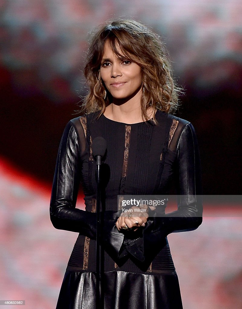 Actress <a gi-track='captionPersonalityLinkClicked' href=/galleries/search?phrase=Halle+Berry&family=editorial&specificpeople=201726 ng-click='$event.stopPropagation()'>Halle Berry</a> speaks onstage during The 2015 ESPYS at Microsoft Theater on July 15, 2015 in Los Angeles, California.