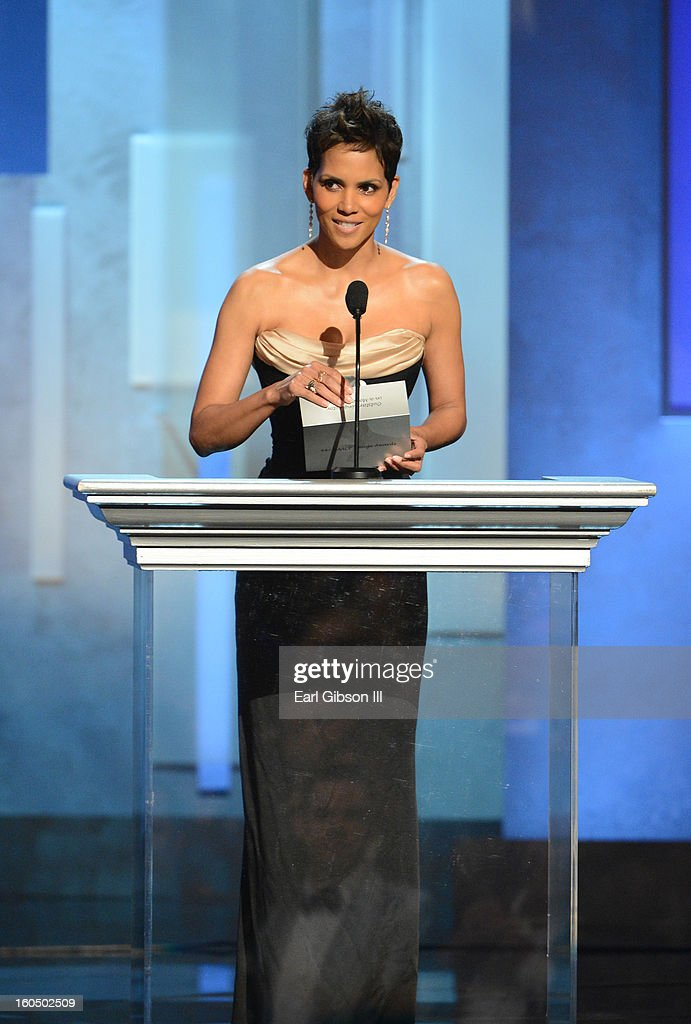 Actress Halle Berry speaks onstage during the 44th NAACP Image Awards at The Shrine Auditorium on February 1, 2013 in Los Angeles, California.