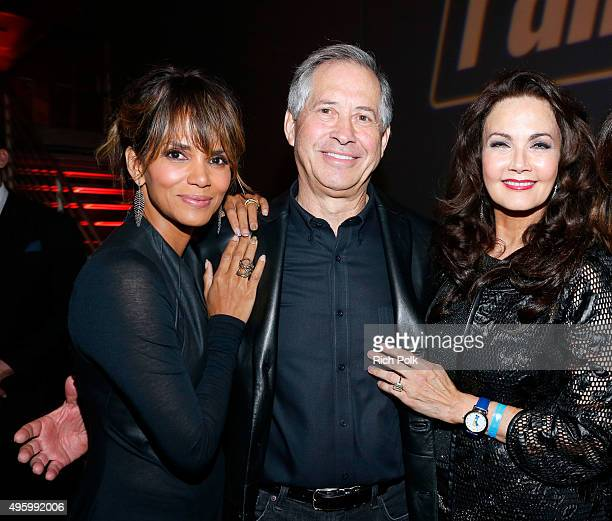 Actress Halle Berry ZeniMax Media Chairman/CEO Robert A Altman and actress Lynda Carter attend the Fallout 4 video game launch event in downtown Los...