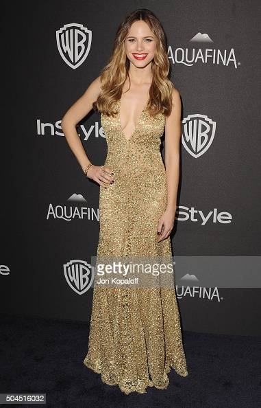 Actress Halston Sage arrives at the 2016 InStyle And Warner Bros 73rd Annual Golden Globe Awards PostParty at The Beverly Hilton Hotel on January 10...