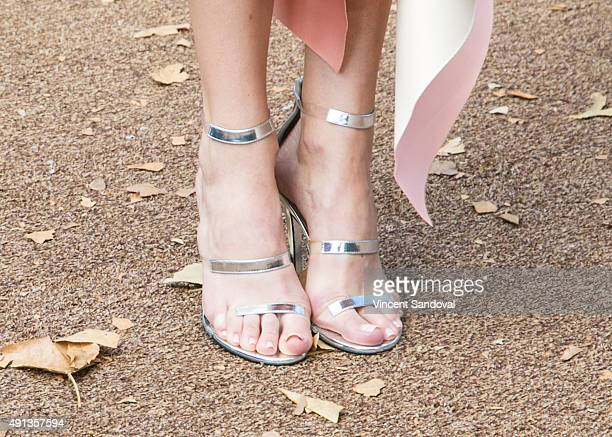 Actress Halston Sage shoe detail attends the premiere of Sony Pictures Entertainment's 'Goosebumps' at Regency Village Theatre on October 4 2015 in...