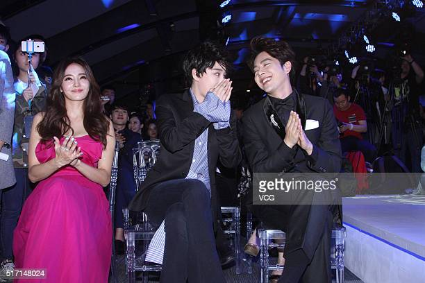 Actress Han Chae Young actress Zhang Xinyu and actor Xu Haiqiao attend a press conference of internet drama 'Revive' on March 23 2016 in Beijing China