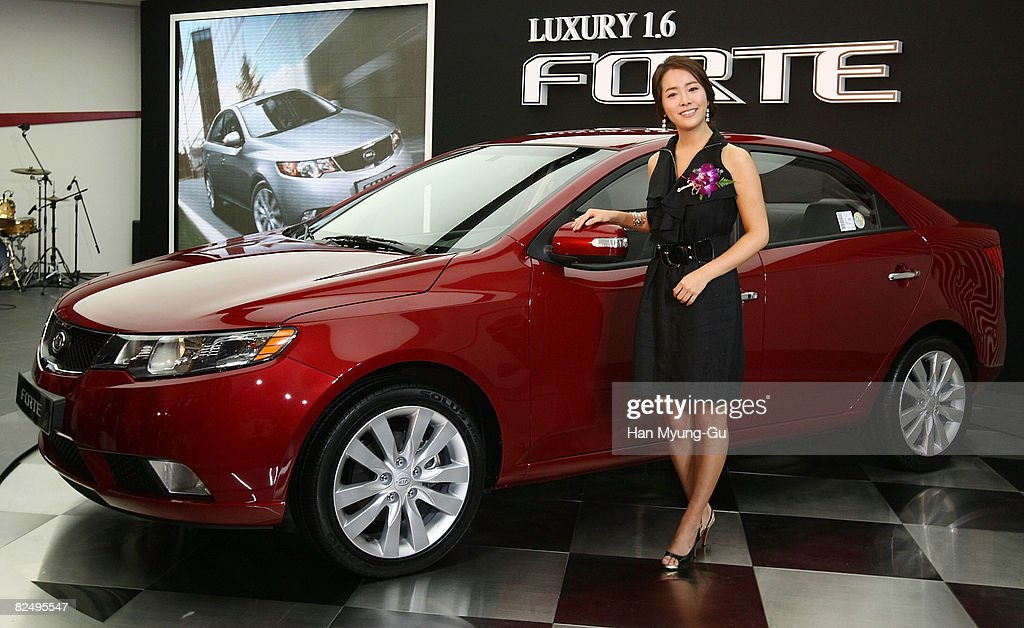 Actress Han JiMin attends motor company KIA Motors new car 'Forte' launching event at KIA Motors Store on August 21 2008 in Seoul South KoreaKIA has...