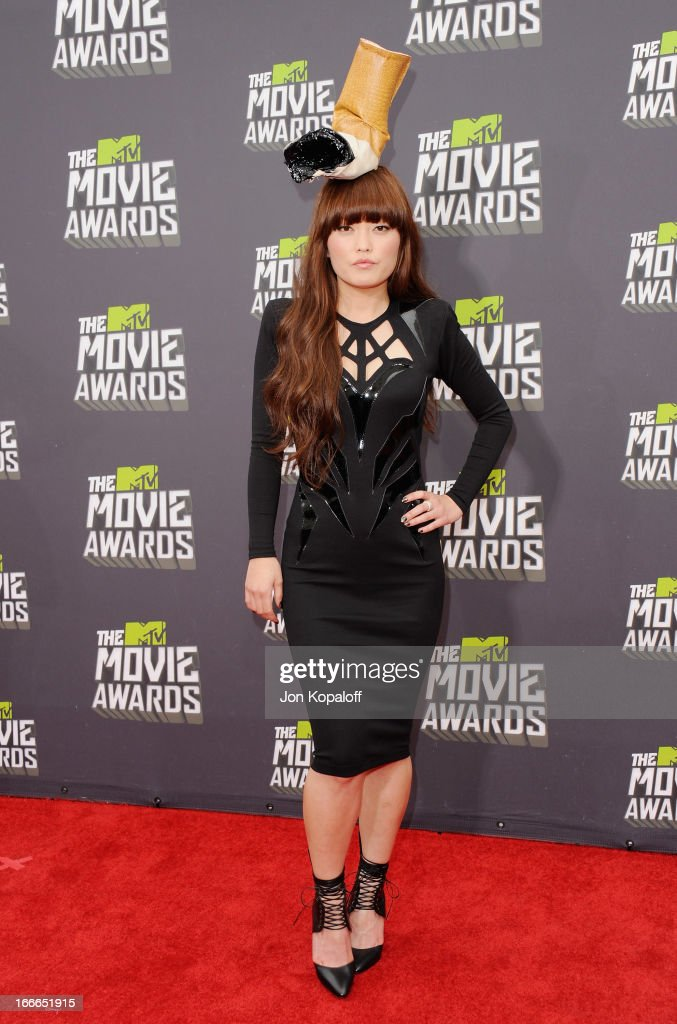 Actress Hana Mae Lee arrives at the 2013 MTV Movie Awards at Sony Pictures Studios on April 14, 2013 in Culver City, California.