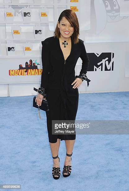 Actress Hana Mae Lee arrives at the 2015 MTV Movie Awards at Nokia Theatre LA Live on April 12 2015 in Los Angeles California