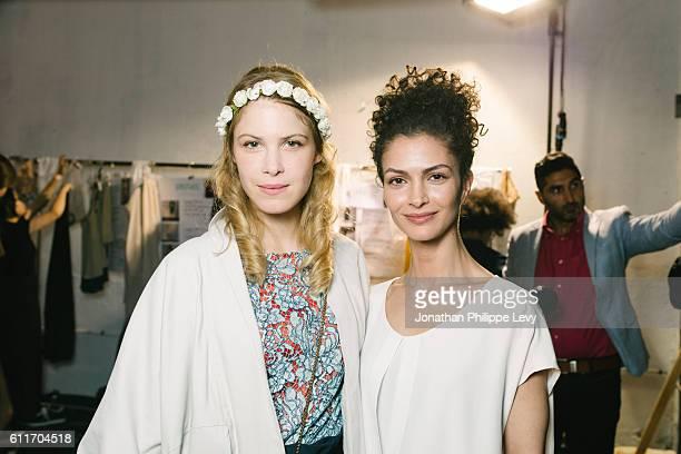 Actress Hande Kodja and Designer Nobieh Talaei pose after the Nobi Talai show as part of the Paris Fashion Week Womenswear Spring/Summer 2017 on...