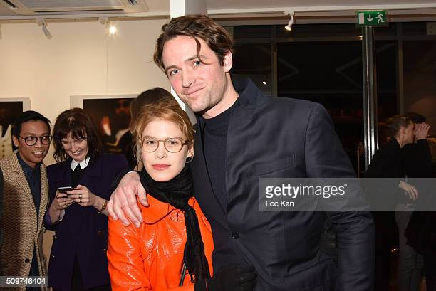Actress Hande Kodja and Louis Marie de Castelbajac attend 'Ghosts Of Glory' by Guilhem de Castelbajac Exhibition Preview At Earth Gallery on February...