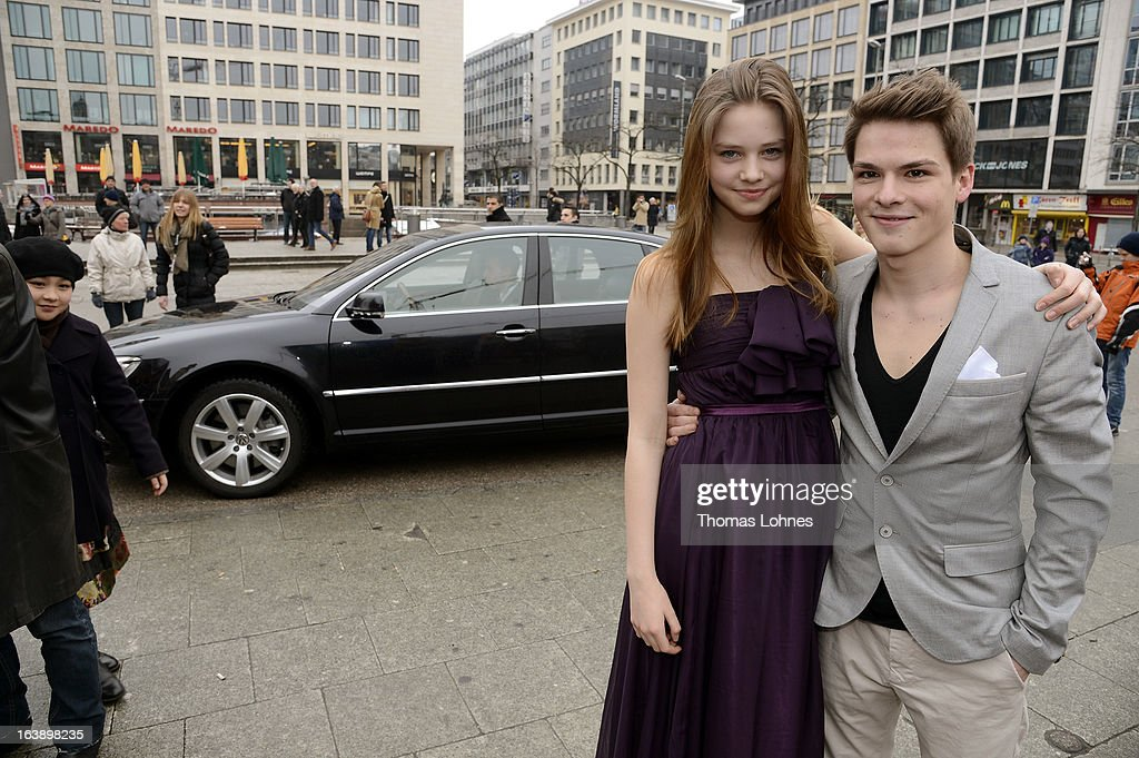 Actress Hanna Binke and Actor Marvin Linke pose for the premiere of the film 'Ostwind' on March 17, 2013 in Frankfurt am Main, Germany. The family film portrays the friendship between the young Mika (Hanna Binke) and the wild and shy stallion 'Ostwind' (east wind). Marvin Linke is seen in the film as Sam.
