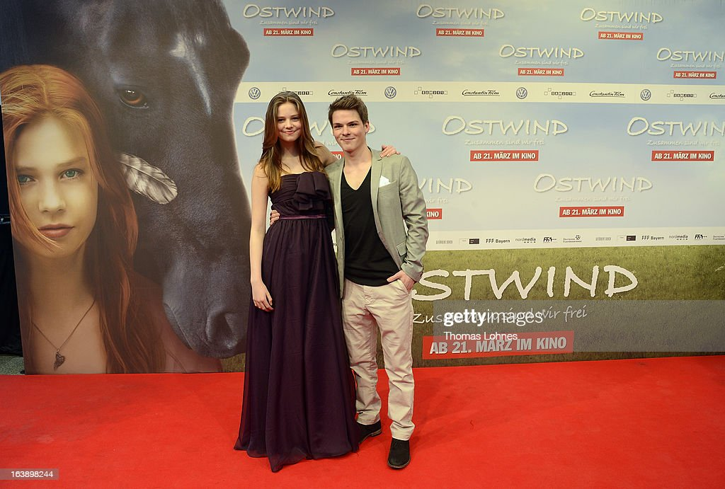 Actress Hanna Binke and Actor Marvin Linke pose on the red carpet for the premiere of the film 'Ostwind' on March 17, 2013 in Frankfurt am Main, Germany. The family film portrays the friendship between the young Mika (Hanna Binke) and the wild and shy stallion 'Ostwind' (east wind). Marvin Linke is seen in the film as Sam.