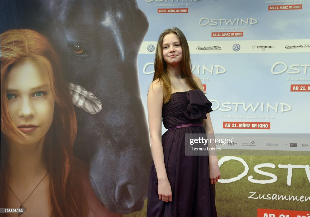 Actress Hanna Binke poses on the red carpet for the premiere of the film 'Ostwind' on March 17, 2013 in Frankfurt am Main, Germany. The family film portrays the friendship between the young Mika (Hanna Binke) and the wild and shy stallion 'Ostwind' (east wind).